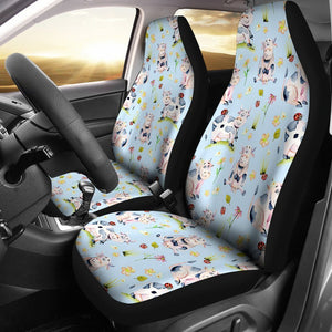 Watercolor Cartoon Cow Pattern Print Universal Fit Car Seat Covers GearFrost