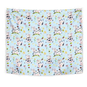 Watercolor Cartoon Cow Pattern Print Wall Tapestry GearFrost