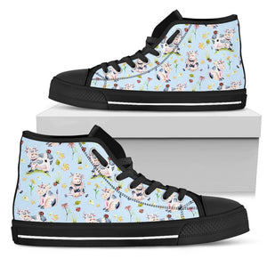 Watercolor Cartoon Cow Pattern Print Women's High Top Shoes GearFrost
