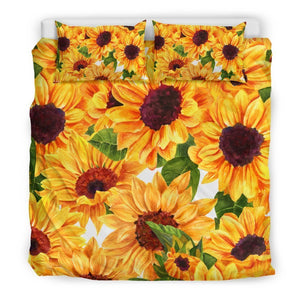 Watercolor Sunflower Pattern Print Duvet Cover Bedding Set GearFrost