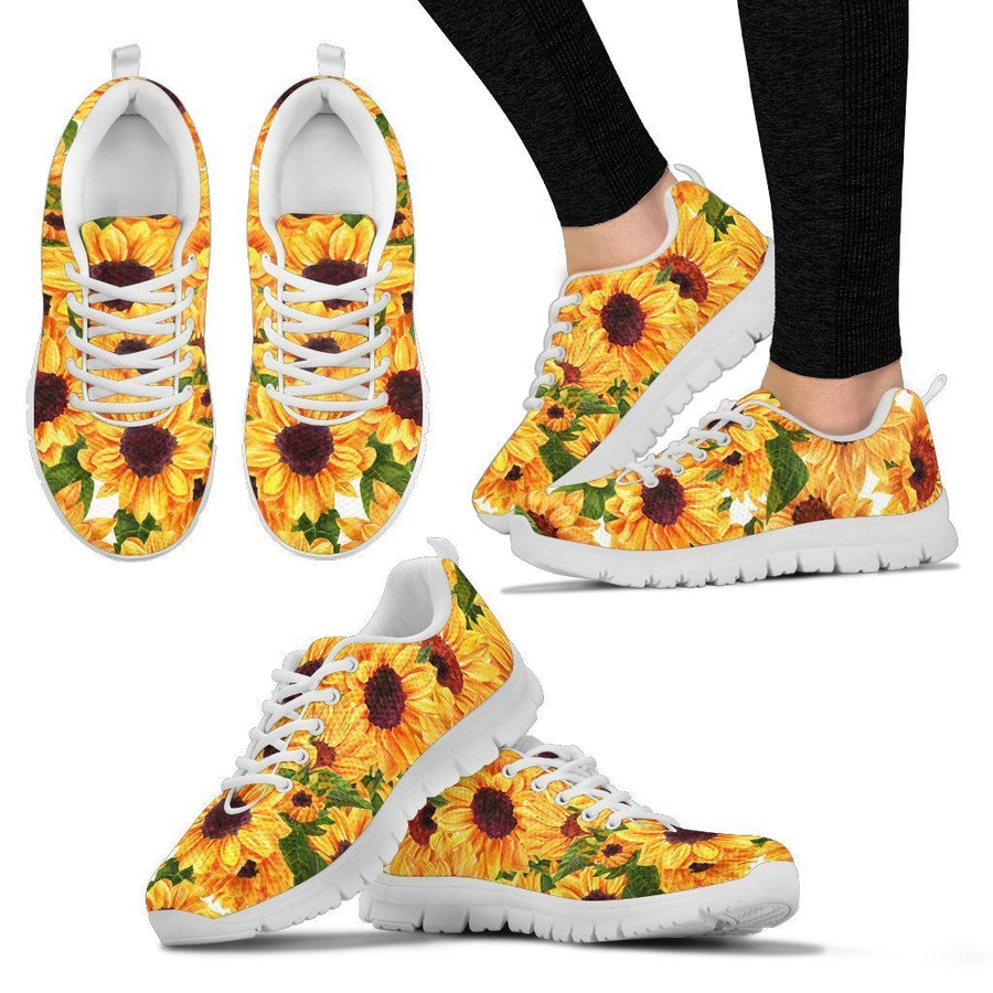 Watercolor Sunflower Pattern Print Women's Sneakers GearFrost