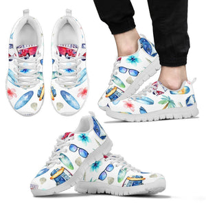 Watercolor Surfing Pattern Print Men's Sneakers GearFrost