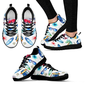 Watercolor Surfing Pattern Print Women's Sneakers GearFrost