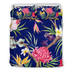 Watercolor Tropical Flower Pattern Print Duvet Cover Bedding Set GearFrost