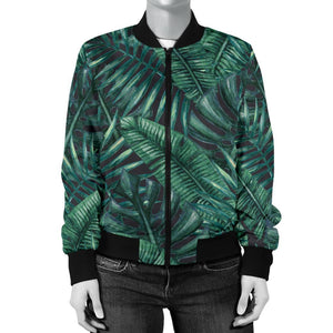 Watercolor Tropical Leaf Pattern Print Women's Bomber Jacket GearFrost
