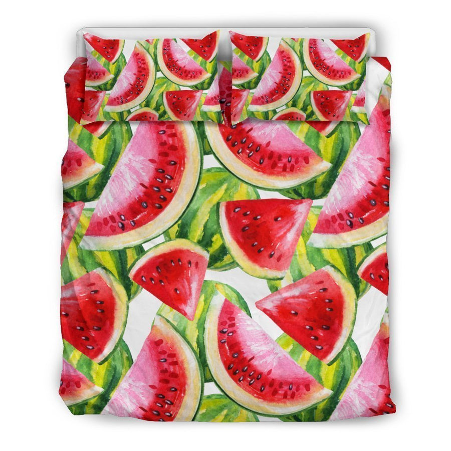 Watercolor Watermelon Pattern Print Duvet Cover Bedding Set GearFrost