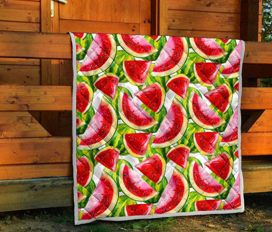 Watercolor Watermelon Pattern Print Quilt GearFrost