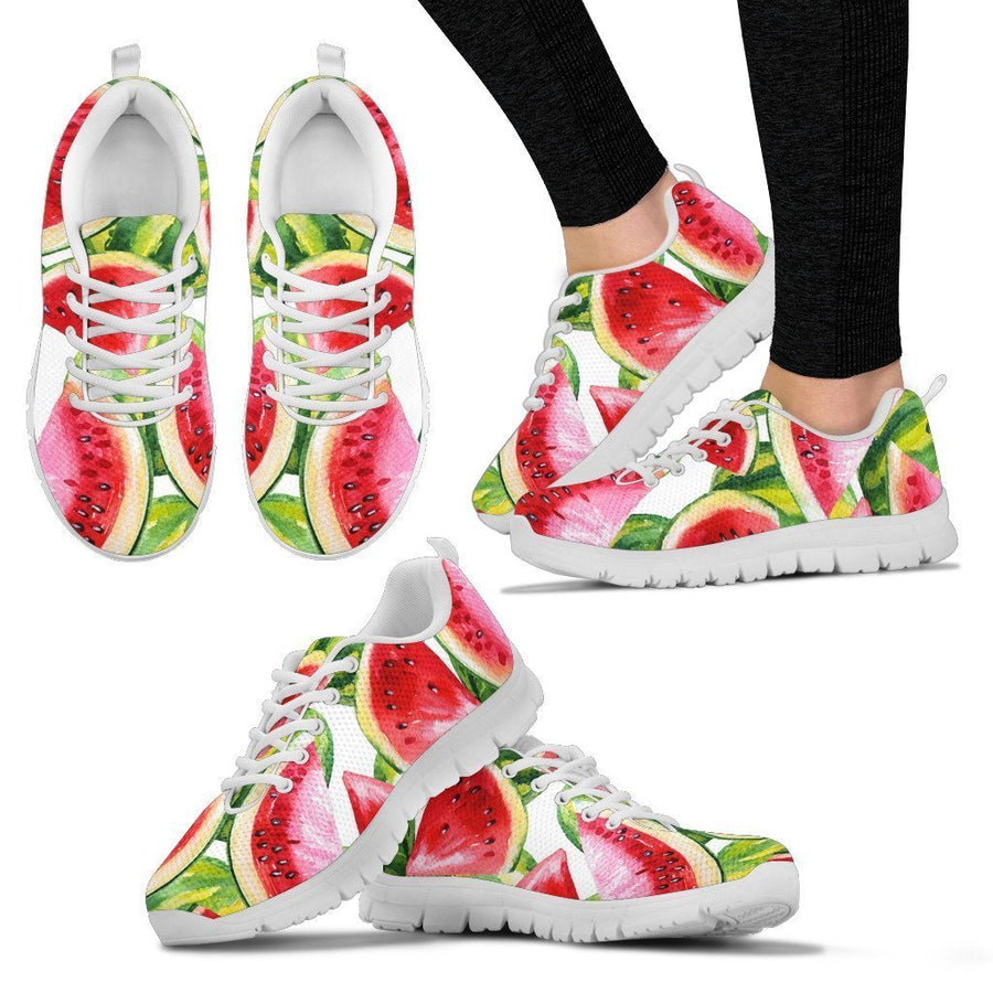 Watercolor Watermelon Pattern Print Women's Sneakers GearFrost