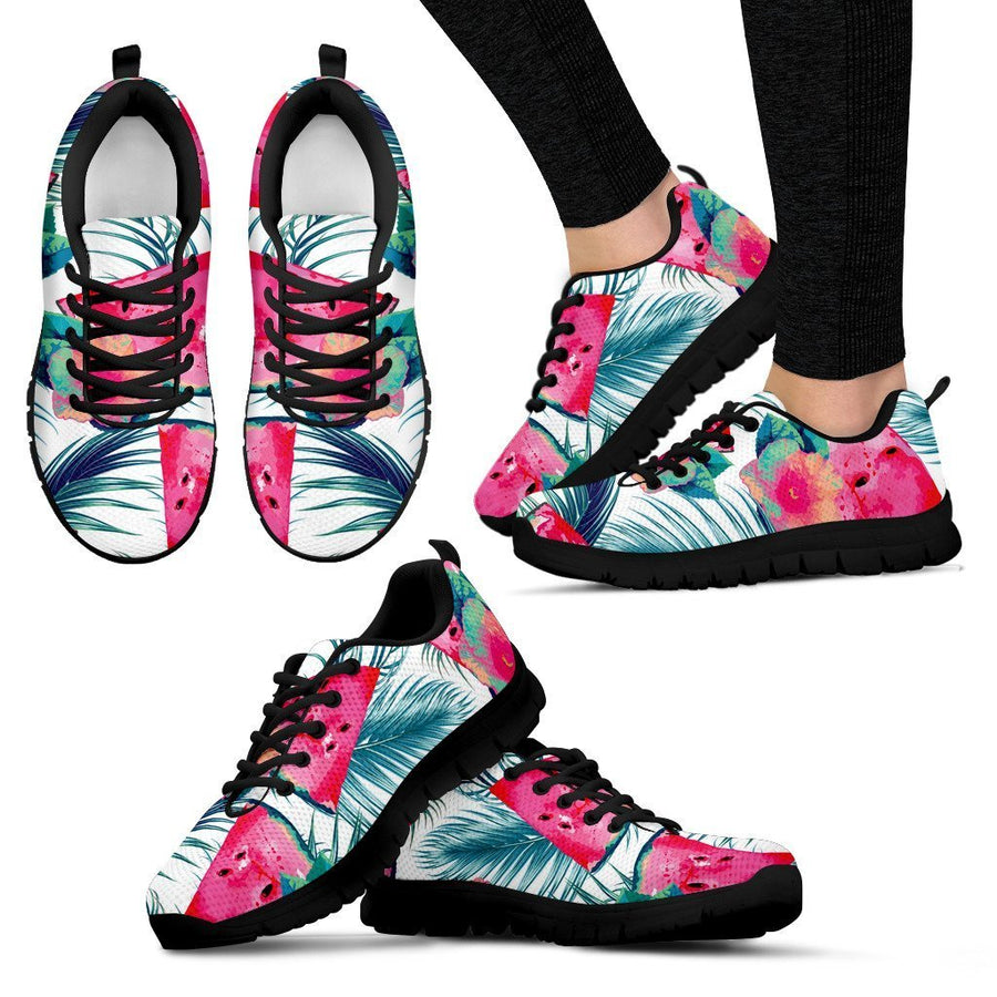 Watermelon Teal Hawaiian Pattern Print Women's Sneakers GearFrost