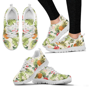 White Aloha Pineapple Pattern Print Women's Sneakers GearFrost