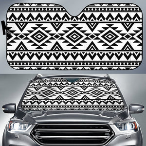 White And Black Aztec Pattern Print Car Sun Shade GearFrost