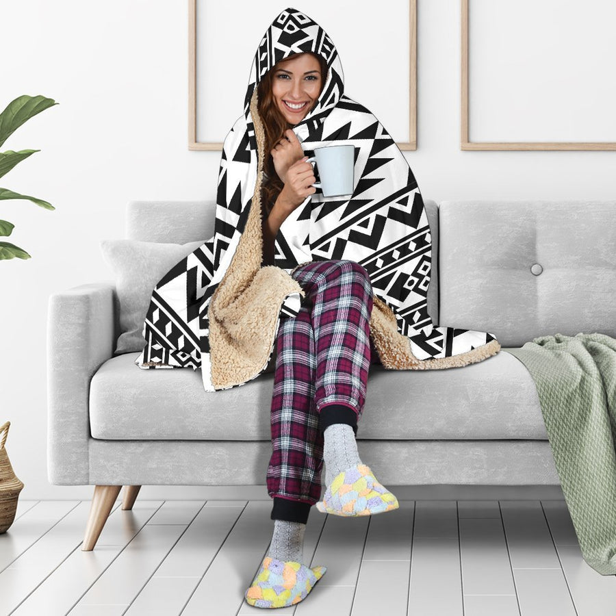 White And Black Aztec Pattern Print Hooded Blanket GearFrost
