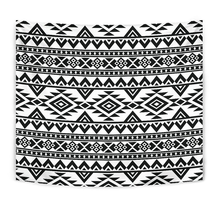 White And Black Aztec Pattern Print Wall Tapestry GearFrost