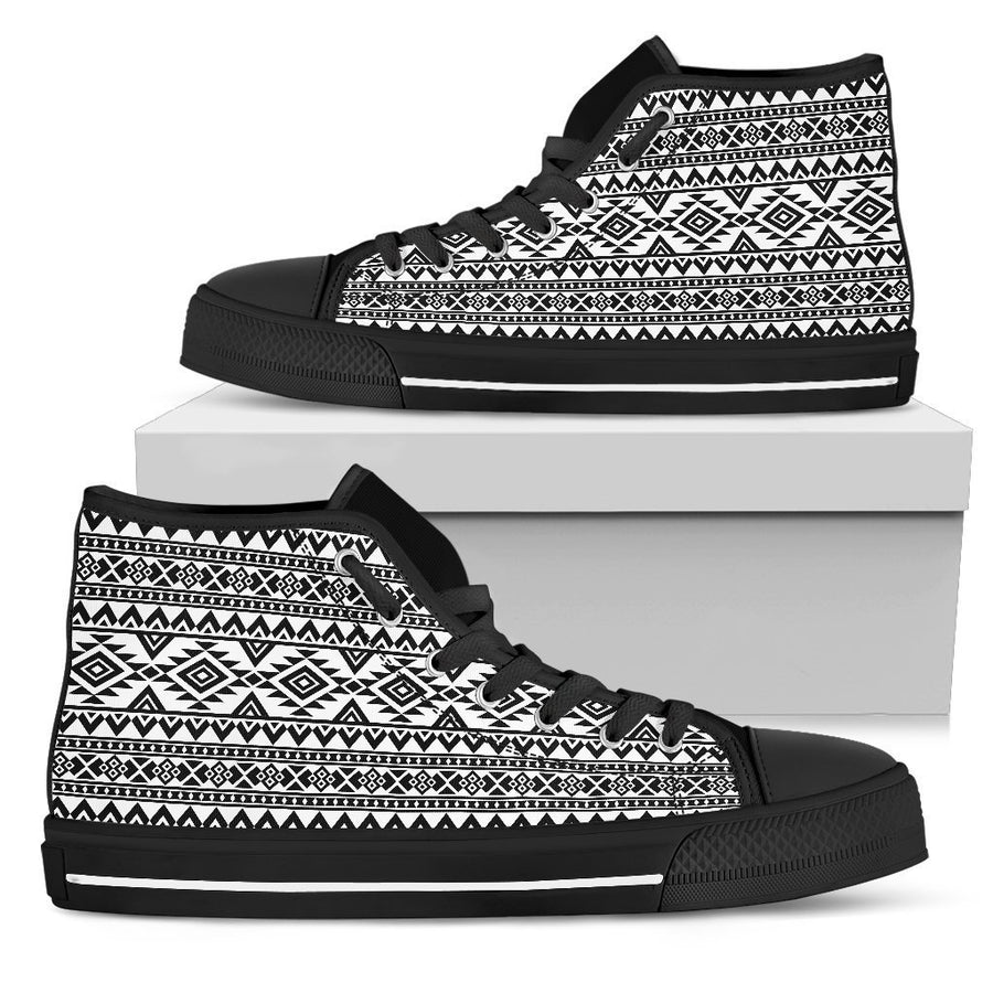 White And Black Aztec Pattern Print Women's High Top Shoes GearFrost