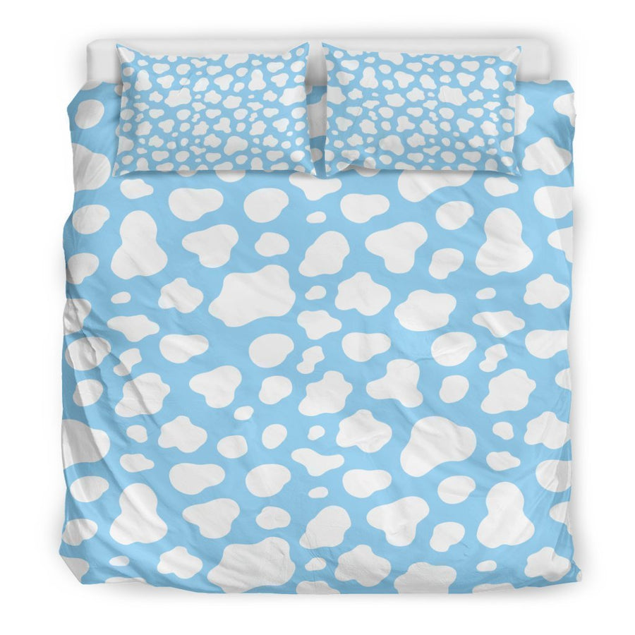 White And Blue Cow Print Duvet Cover Bedding Set GearFrost