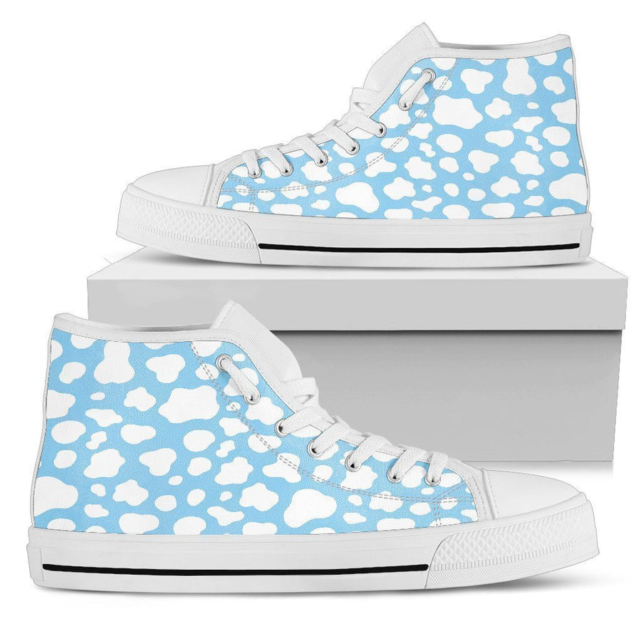 White And Blue Cow Print Men's High Top Shoes GearFrost