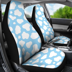 White And Blue Cow Print Universal Fit Car Seat Covers GearFrost