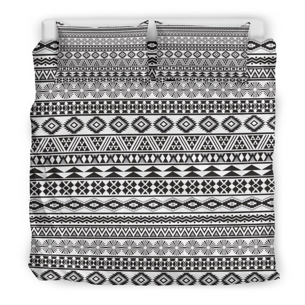 White And Grey Aztec Pattern Print Duvet Cover Bedding Set GearFrost