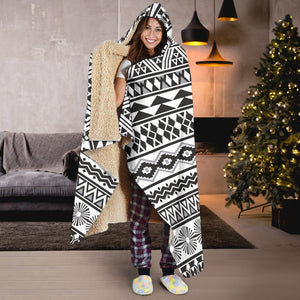 White And Grey Aztec Pattern Print Hooded Blanket GearFrost