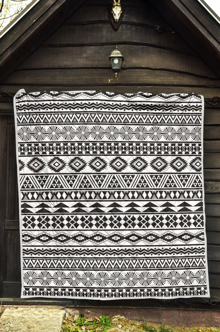 White And Grey Aztec Pattern Print Quilt GearFrost