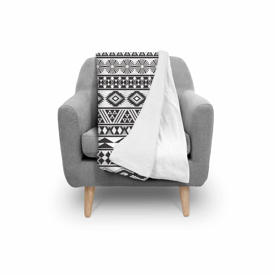 White And Grey Aztec Pattern Print Sherpa Blanket GearFrost