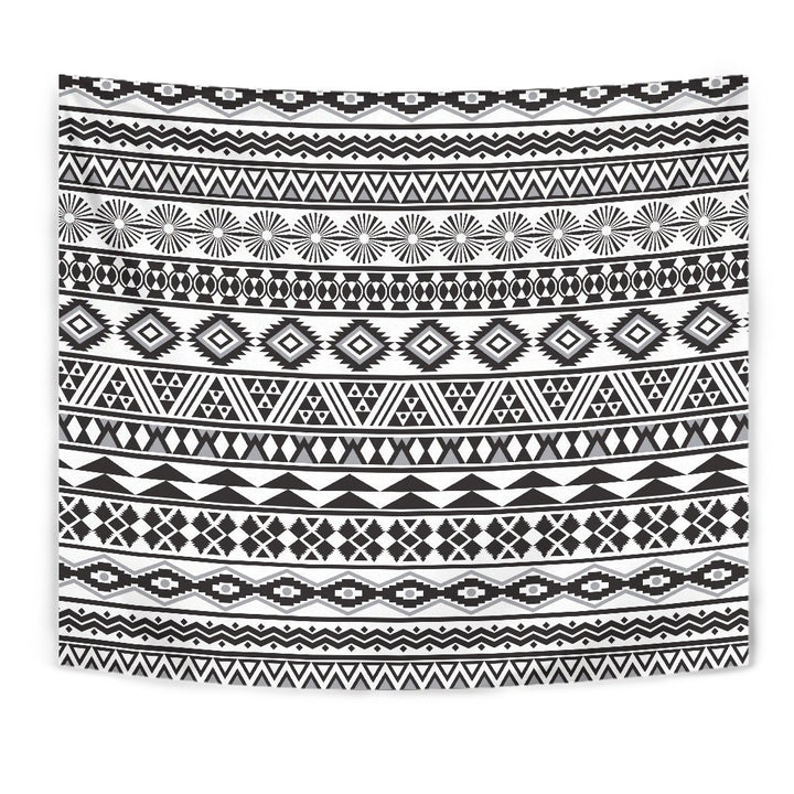 White And Grey Aztec Pattern Print Wall Tapestry GearFrost