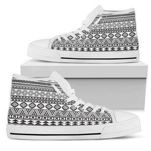 White And Grey Aztec Pattern Print Women's High Top Shoes GearFrost