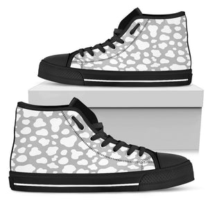 White And Grey Cow Print Men's High Top Shoes GearFrost