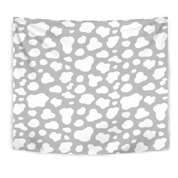 White And Grey Cow Print Wall Tapestry GearFrost