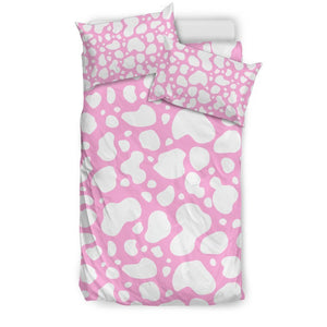 White And Pink Cow Print Duvet Cover Bedding Set GearFrost