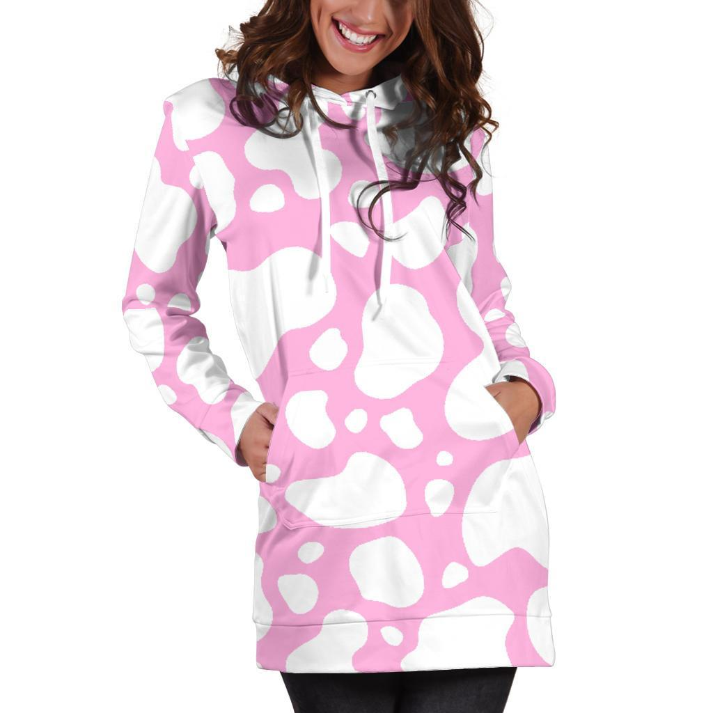 White And Pink Cow Print Hoodie Dress GearFrost