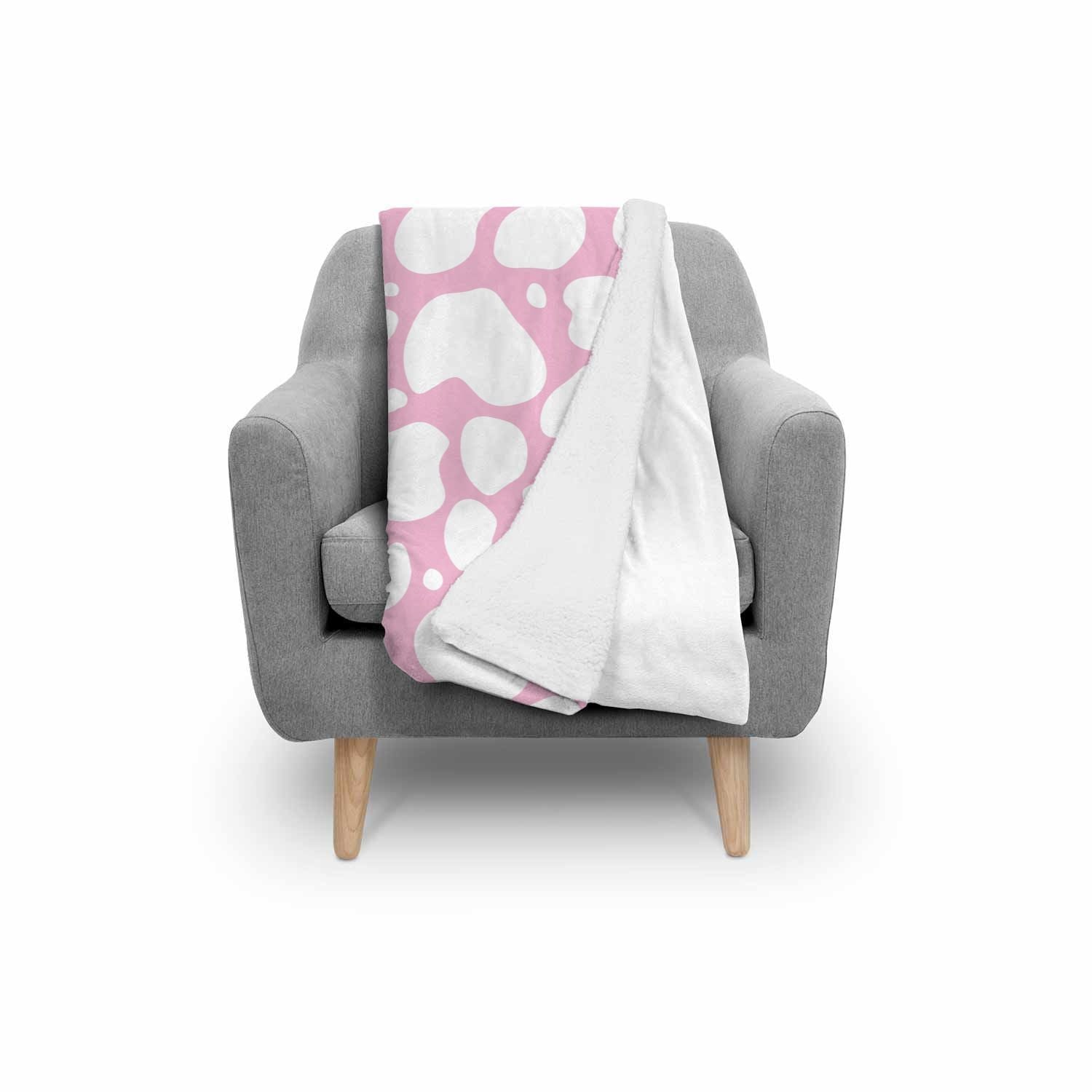 White And Pink Cow Print Sherpa Blanket GearFrost