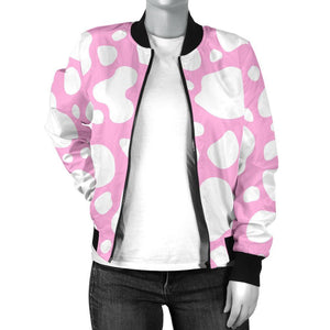 White And Pink Cow Print Women's Bomber Jacket GearFrost