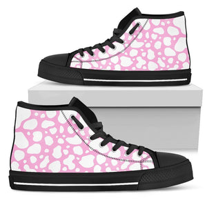 White And Pink Cow Print Women's High Top Shoes GearFrost