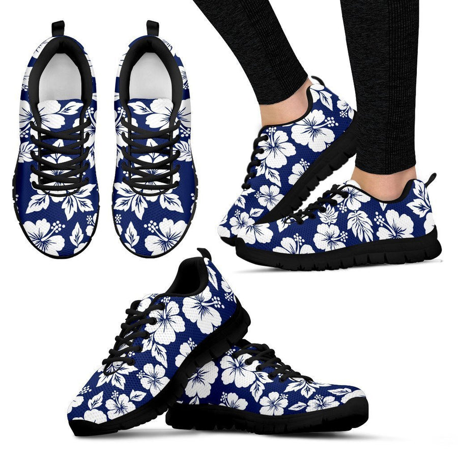 White Blue Hibiscus Floral Pattern Print Women's Sneakers GearFrost