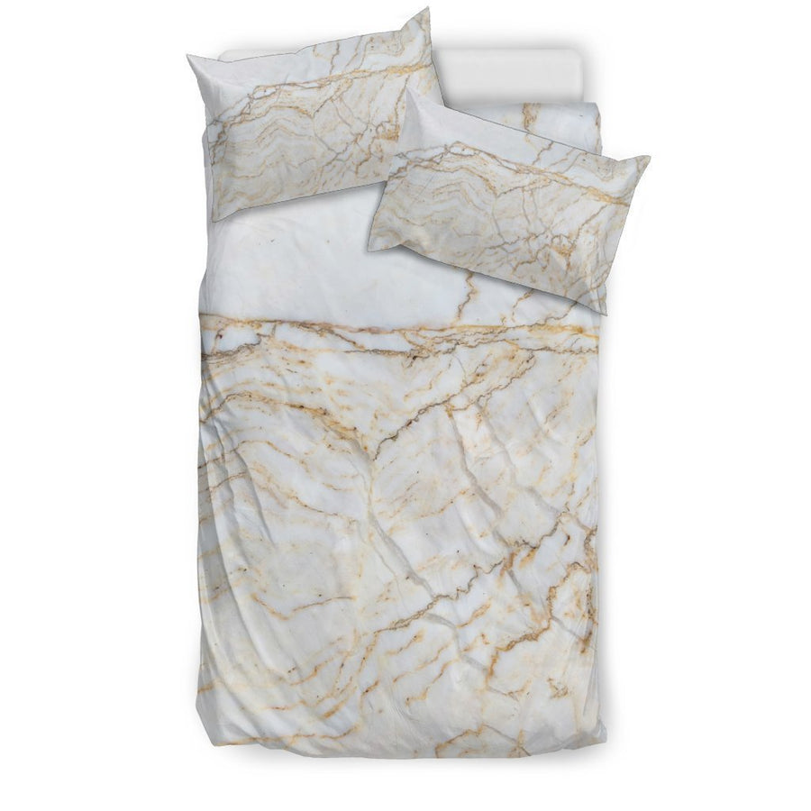 White Brown Grunge Marble Print Duvet Cover Bedding Set GearFrost