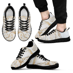 White Brown Grunge Marble Print Men's Sneakers GearFrost