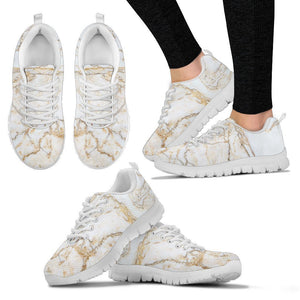 White Brown Grunge Marble Print Women's Sneakers GearFrost