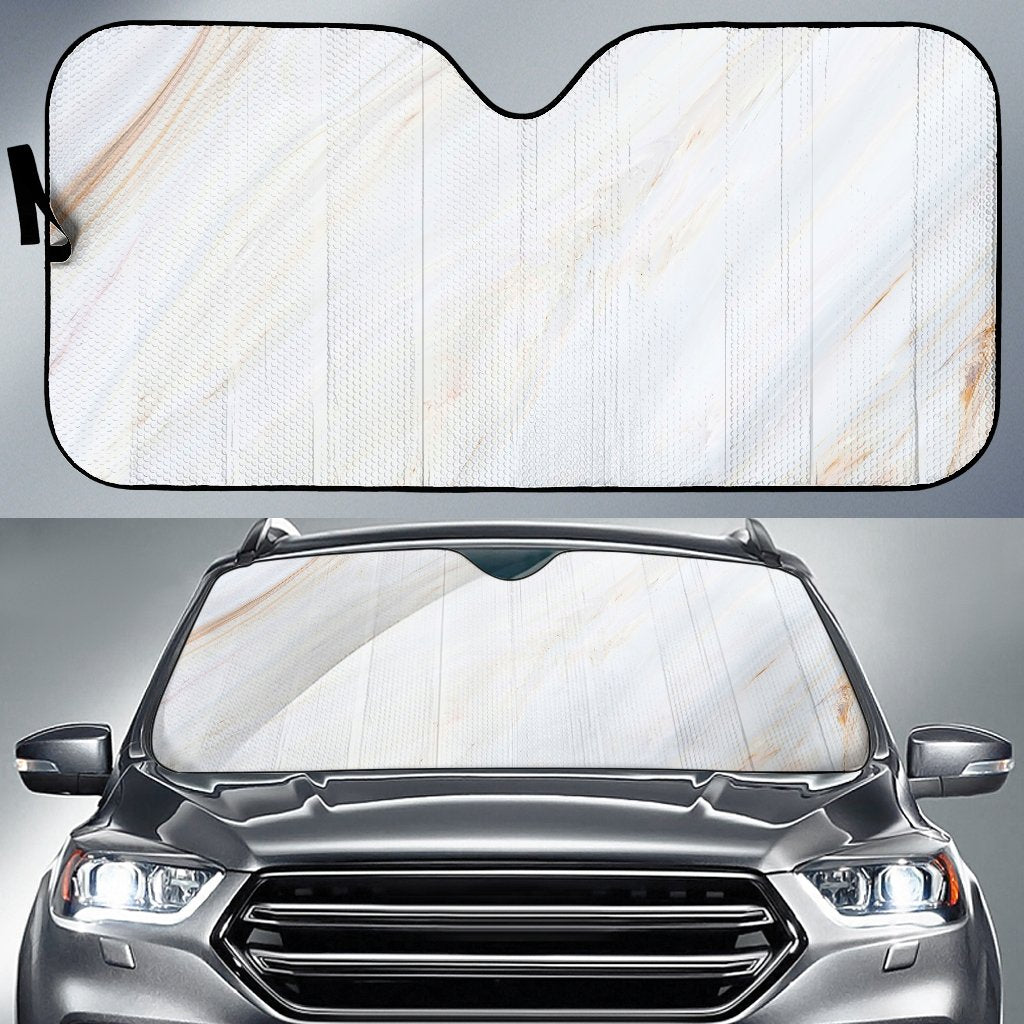 White Brown Smooth Marble Print Car Sun Shade GearFrost