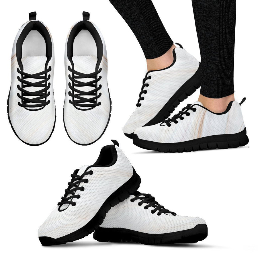 White Brown Smooth Marble Print Women's Sneakers GearFrost