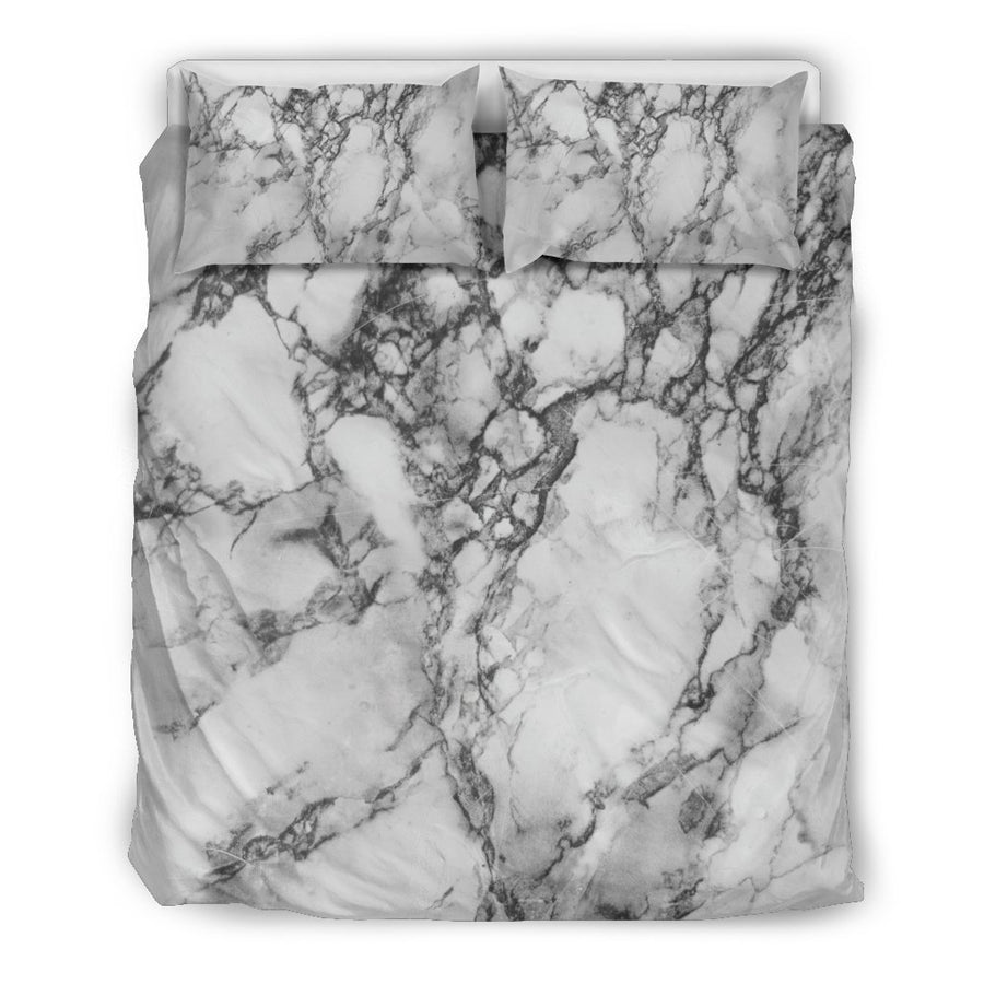 White Dark Grey Marble Print Duvet Cover Bedding Set GearFrost
