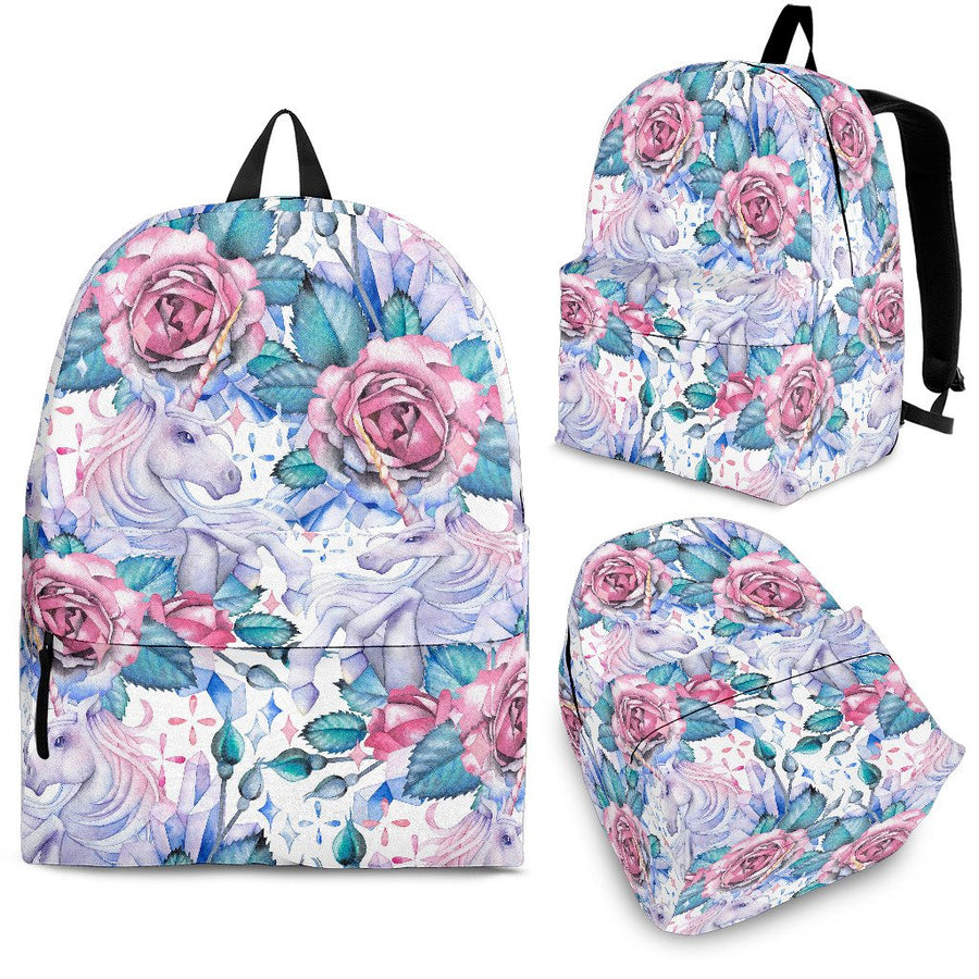White Fairy Rose Unicorn Pattern Print Backpack GearFrost