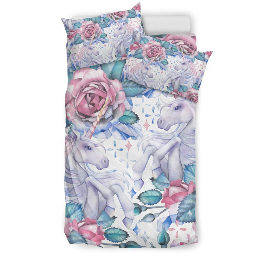 White Fairy Rose Unicorn Pattern Print Duvet Cover Bedding Set GearFrost