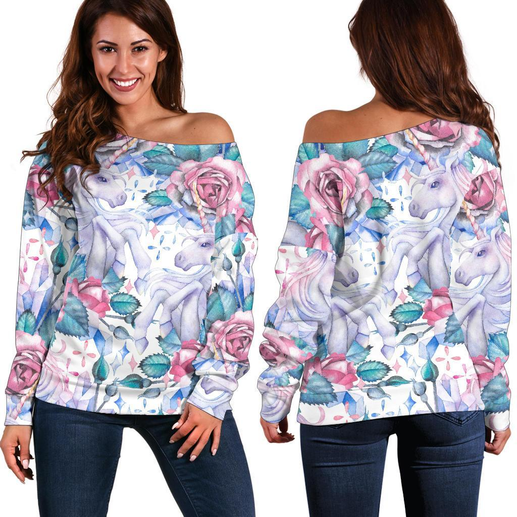 White Fairy Rose Unicorn Pattern Print Off Shoulder Sweatshirt GearFrost