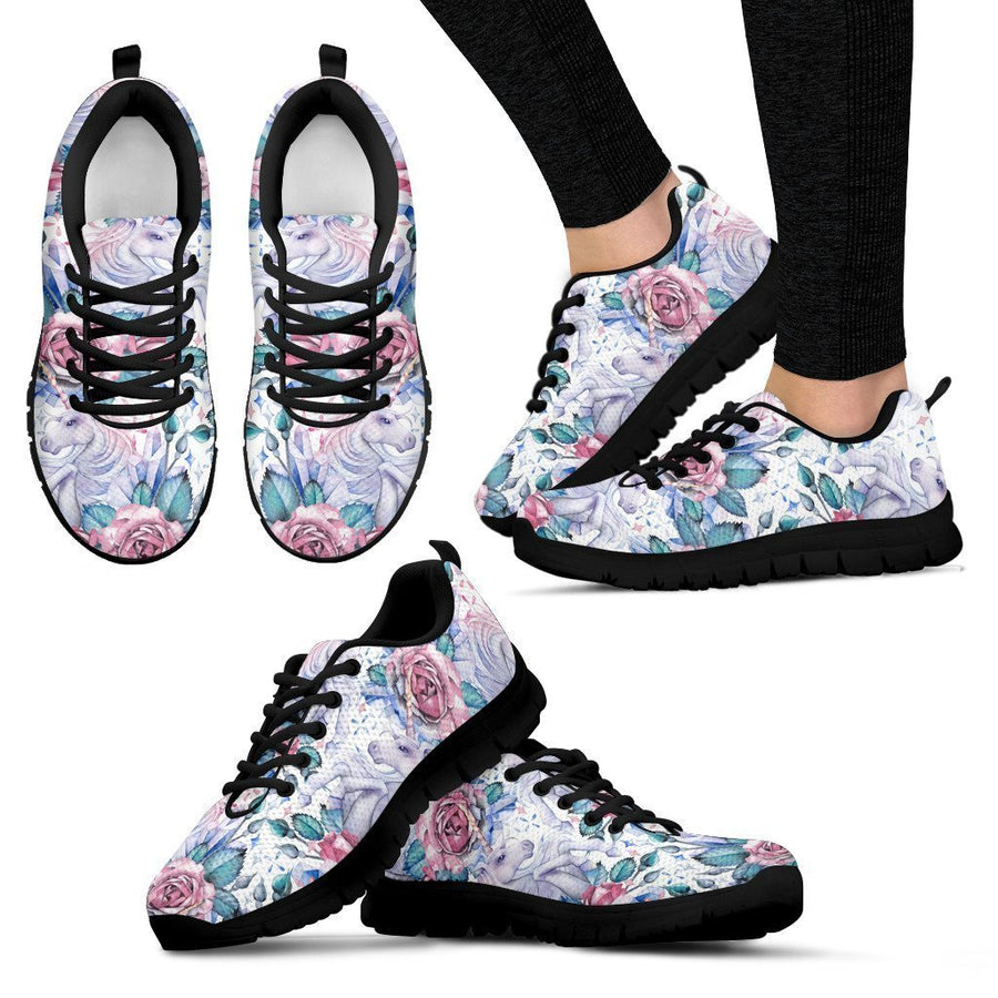 White Fairy Rose Unicorn Pattern Print Women's Sneakers GearFrost