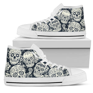 5d27383303a9d White Floral Sugar Skull Pattern Print Men's High Top Shoes – GearFrost