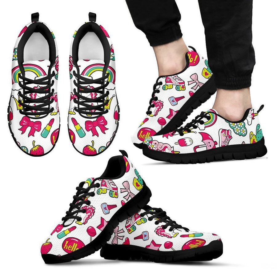 White Girly Unicorn Pattern Print Men's Sneakers GearFrost