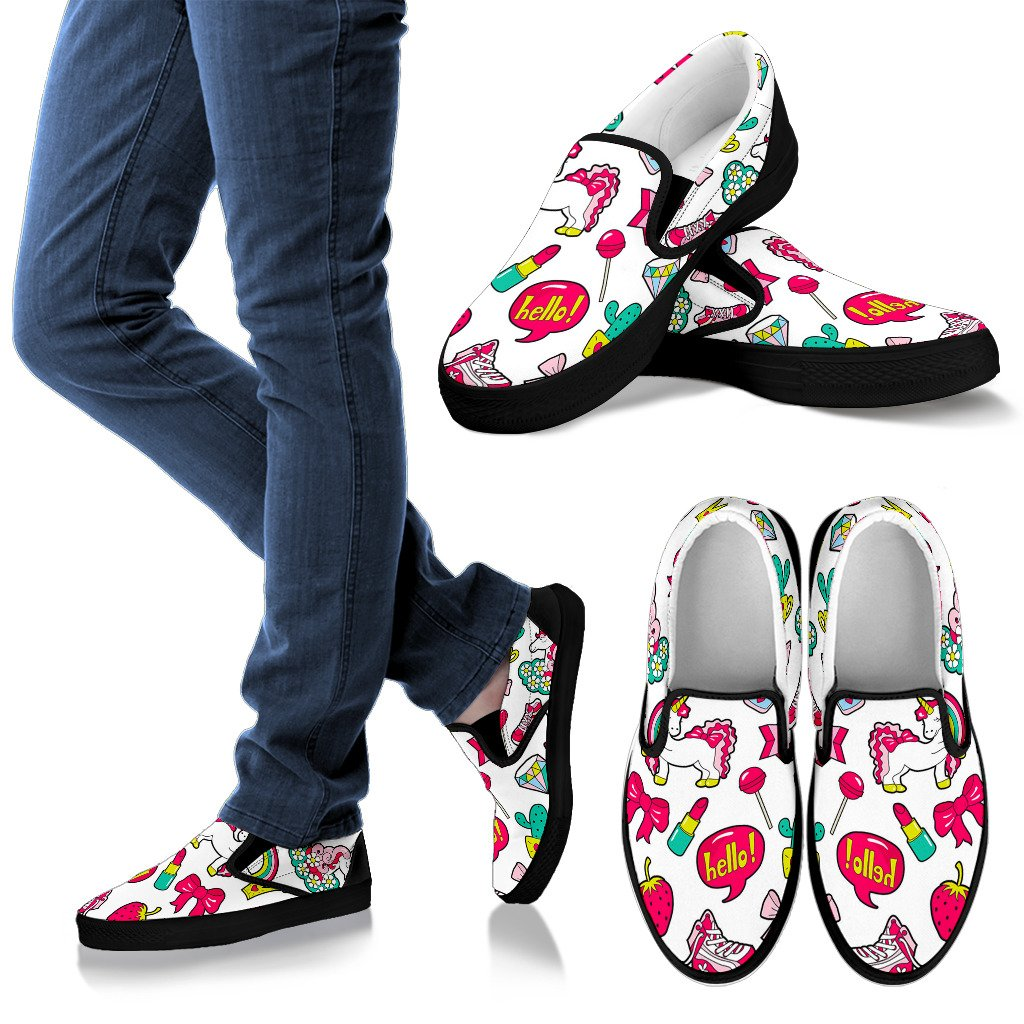 White Girly Unicorn Pattern Print Women's Slip On Shoes GearFrost