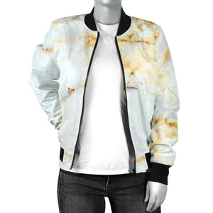 White Gold Marble Print Women's Bomber Jacket GearFrost