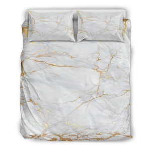 White Gold Scratch Marble Print Duvet Cover Bedding Set GearFrost